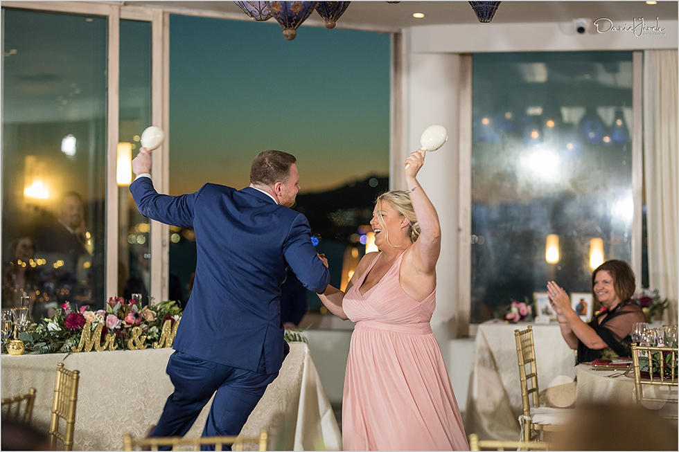 bridesmaid and groomsmen dancing