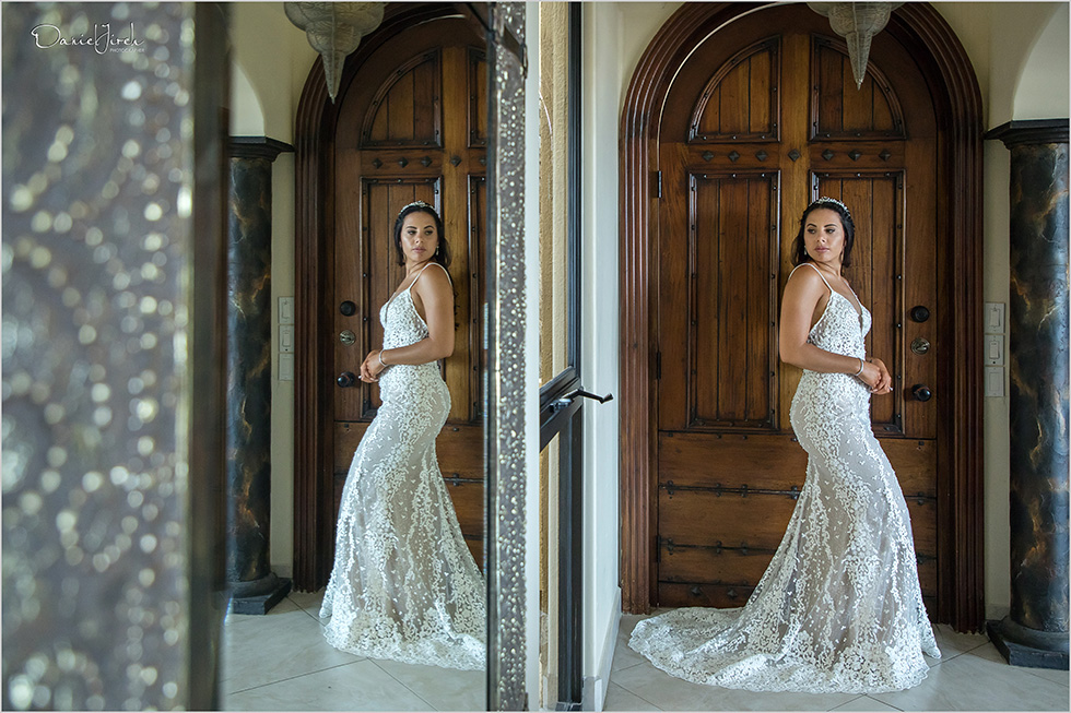bride poses in wedding dress