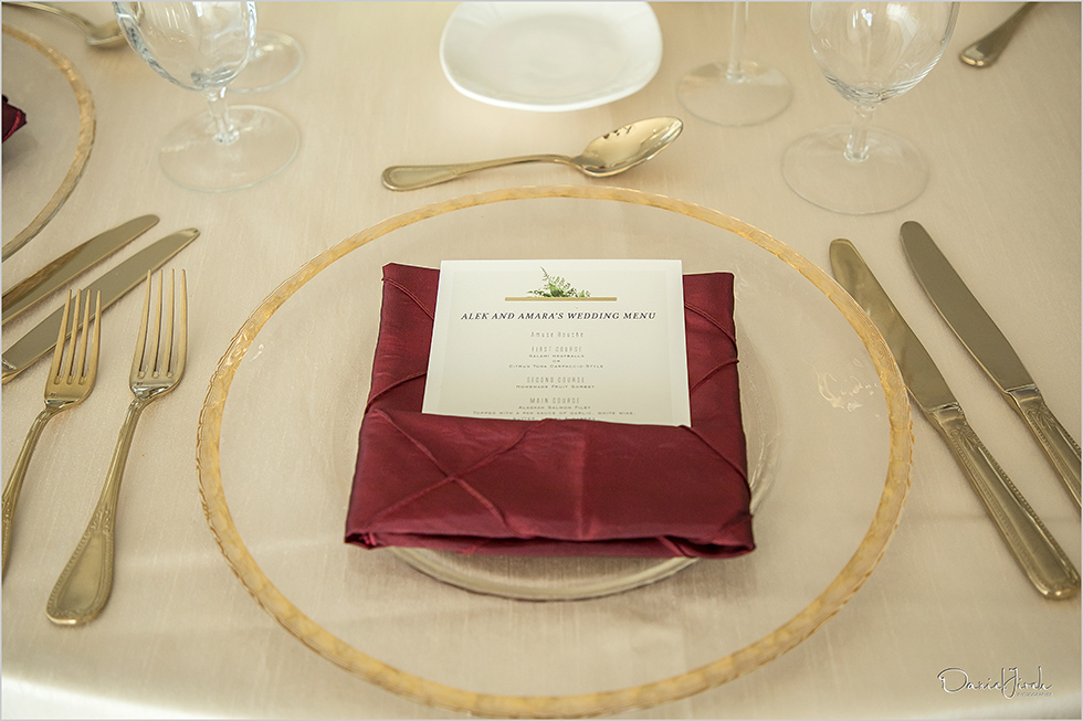 cream, gold and red tablescape