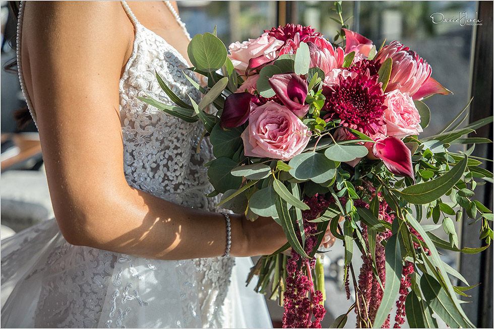 red pink and green bridal bouquet, cascading bouquet