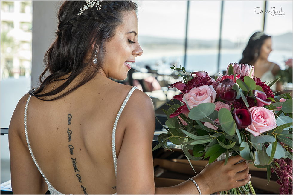 bride and bridal bouquet, tattooed bride