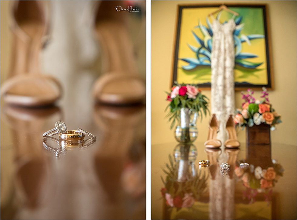 wedding details, wedding rings, bride's shoes, dress hanging on wall, Los Cabos Wedding