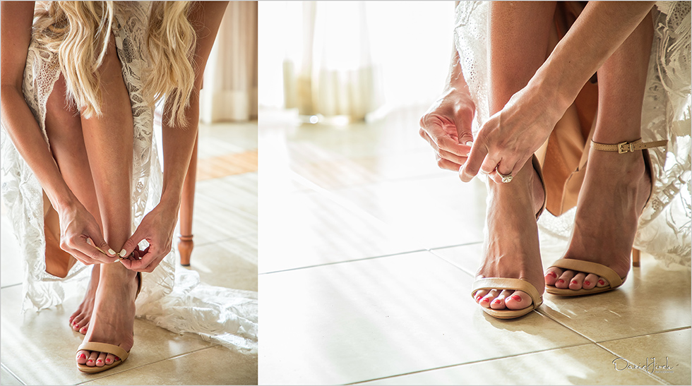 bride putting on shoes at Pueblo Bonito Sunset Beach