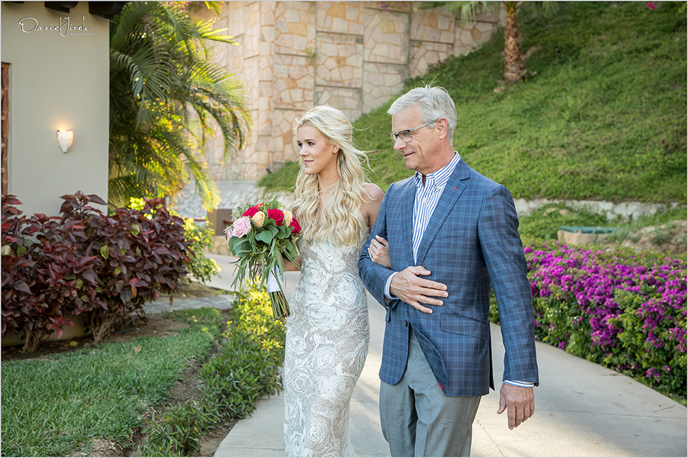 Bride and father walk down the aisle at Los Cabos wedding