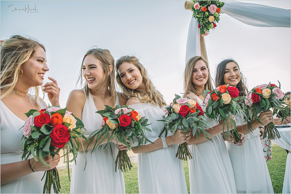 bridesmaids smiling and laughing