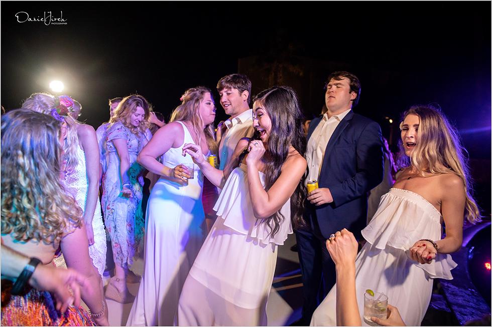 guests dancing and having fun at Pueblo Bonito Sunset Beach wedding