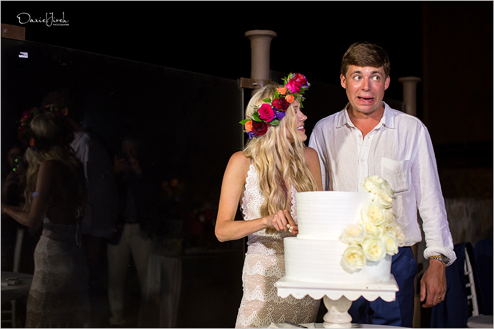 funny faces during cake cutting