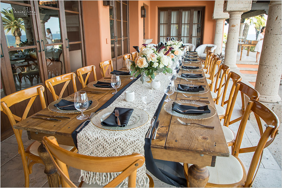 Imperial table, birthday party, wooden tablescape by The Main Event Cabo