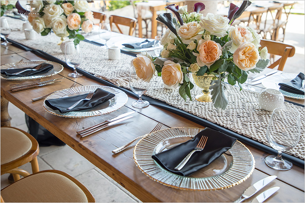 rustic wooden tablescape at Los Cabos birthday party