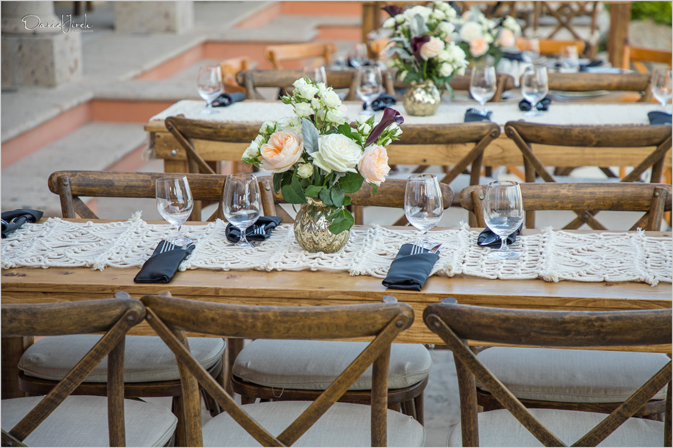rustic dinner table setup, villa vista ballena birthday party