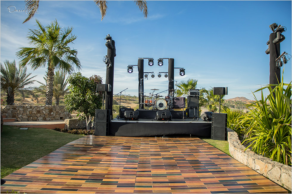 stage and dance floor at villa vista ballena