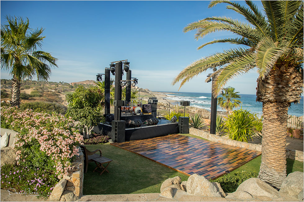 stage and dance floor setup at villa vista ballena