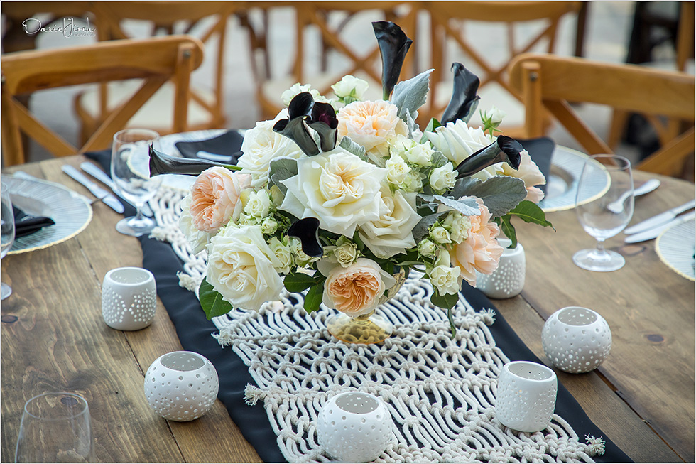 blush cream and black centerpiece