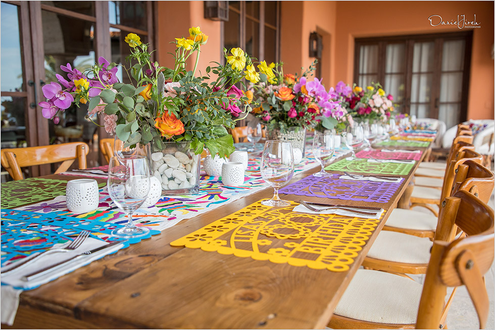 Mexican themed tablescape, welcome party, Villa Vista Ballena