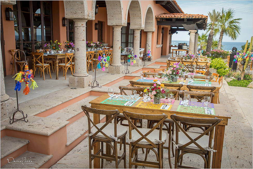 Colorful Mexican themed welcome party setup by The Main Event Cabo