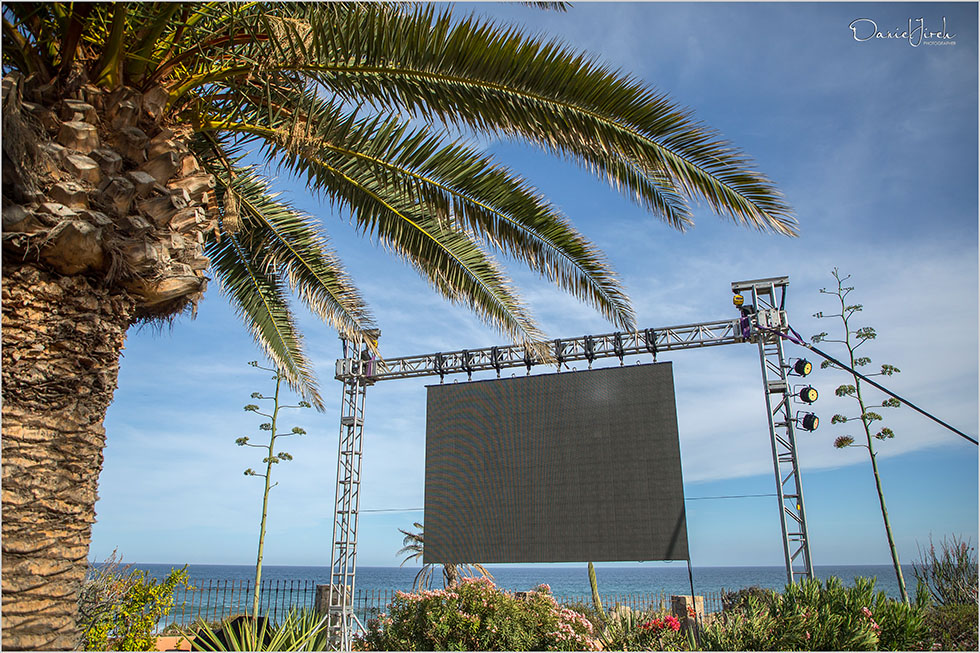 projection screen and staging at villa vista ballena