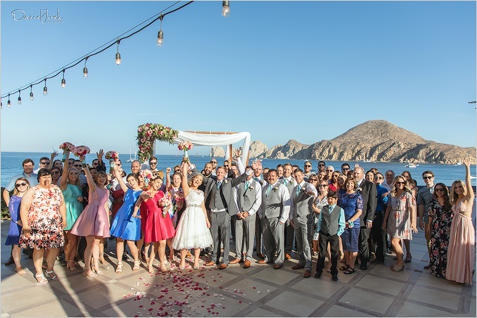Cabo wedding photography Casa Dorada, destination wedding ceremony, bridal party, group shot
