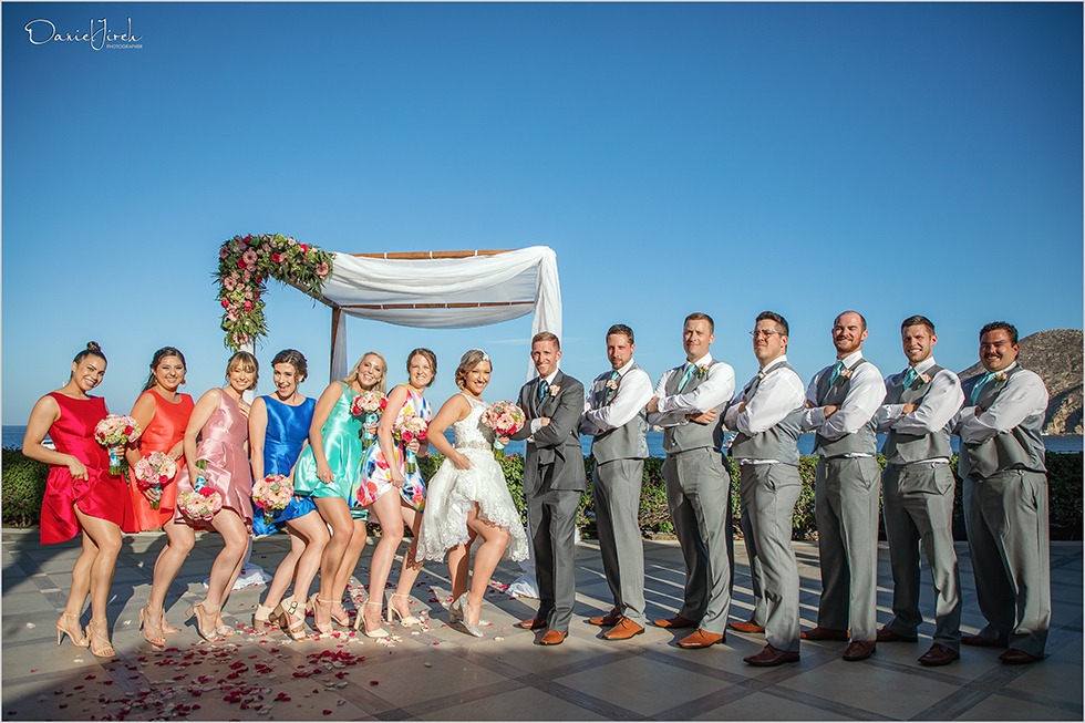Cabo wedding photography Casa Dorada, destination wedding ceremony, bridal party