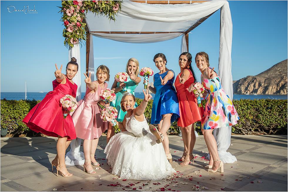 Cabo wedding photography Casa Dorada, destination wedding ceremony, bridal party, bridesmaids