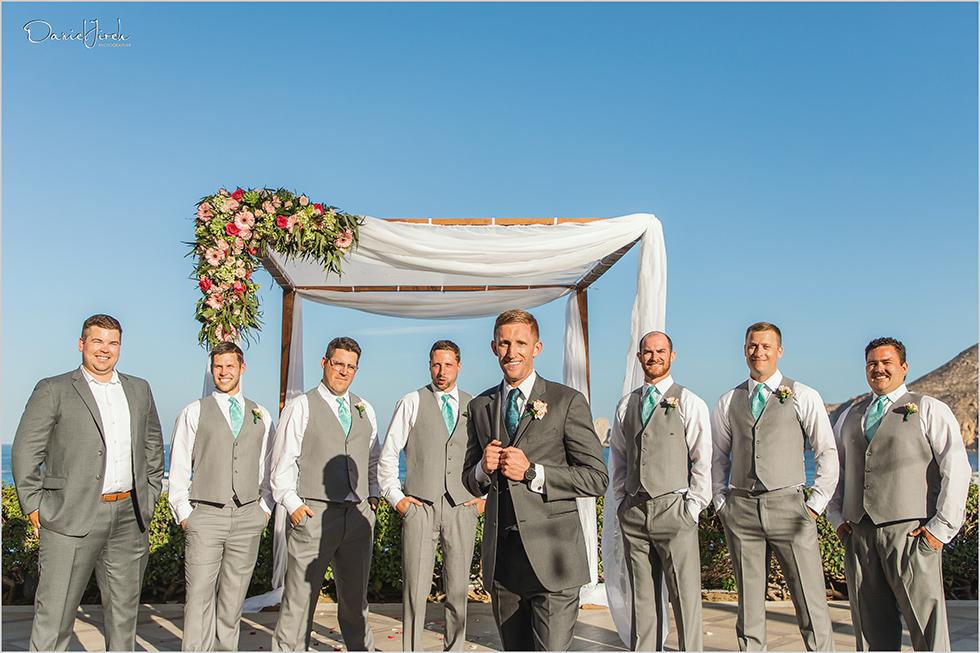 Cabo wedding photography Casa Dorada, destination wedding ceremony, bridal party, groomsmen