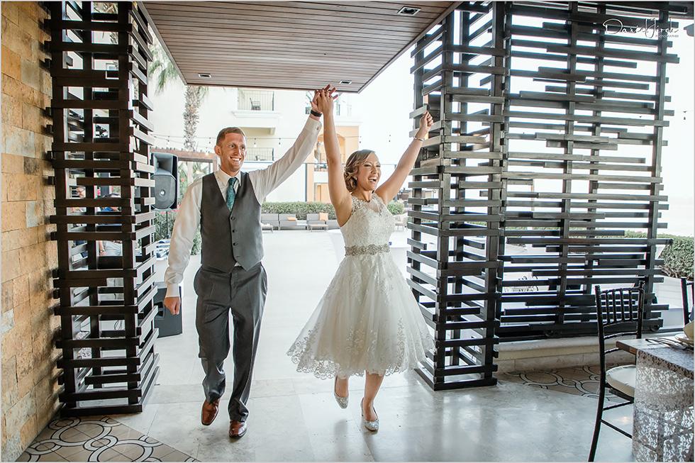 Cabo wedding photography Casa Dorada, destination wedding, bride and groom portrait, reception entrance