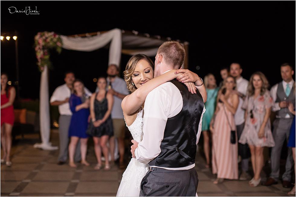 Cabo wedding photography Casa Dorada, destination wedding, bride and groom portrait, first dance