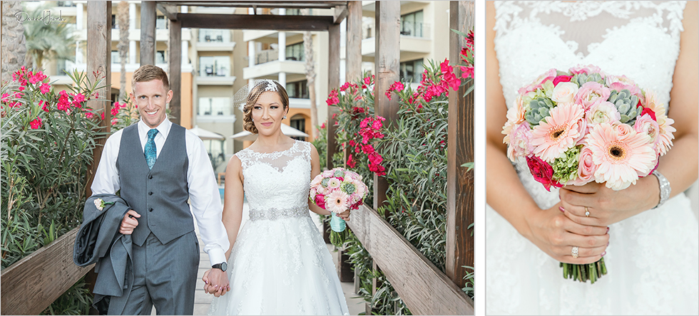 Cabo wedding photography Casa Dorada, destination wedding, bride and groom portrait, bouquet