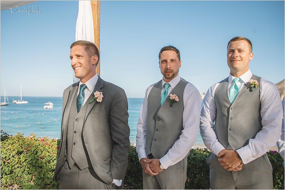 Cabo wedding photography Casa Dorada, destination wedding ceremony, bridal party, destination groom