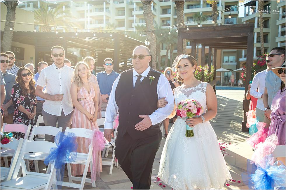 Cabo wedding photography Casa Dorada, destination wedding ceremony, bride's entrance, father of the bride