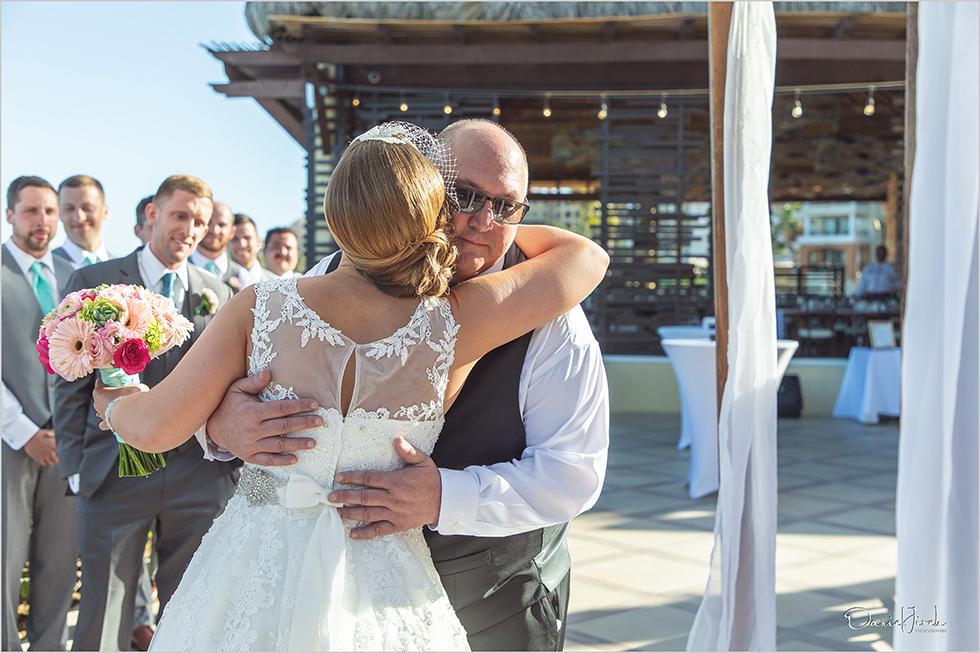 Cabo wedding photography Casa Dorada, destination wedding ceremony, father of the bride