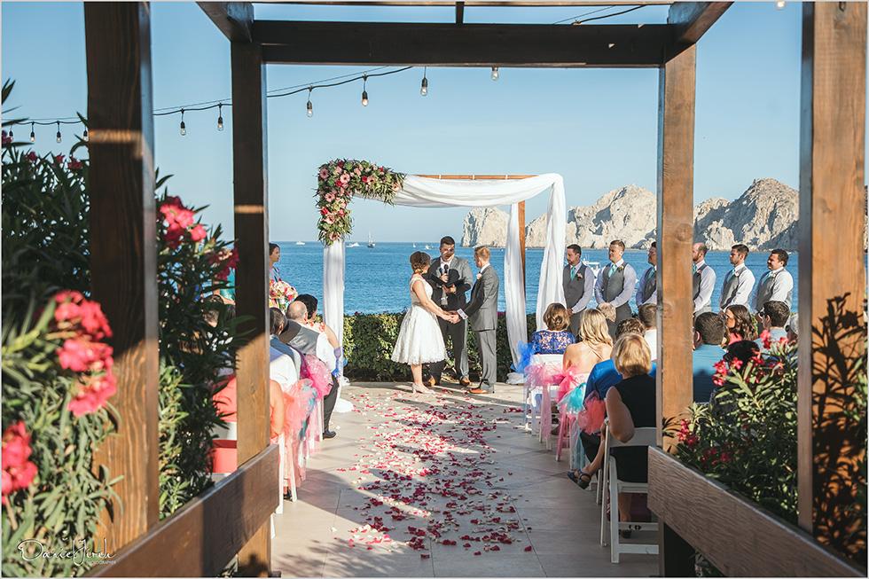 Cabo wedding photography Casa Dorada, destination wedding ceremony, bridal party, Land's End ceremony